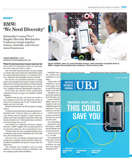 A Celebration of Us featured in Upstate Business Journal