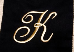 Monogrammed K embroidery