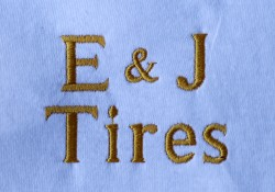 E & J Tires embroidered logo