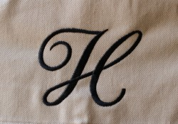 Monogrammed H embroidery